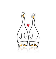funny goose couple sketch for your design vector image