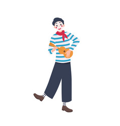 Funny mime in beret playing guitar and singing vector