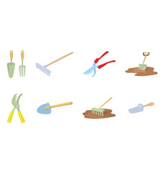 garden tool icon set cartoon style vector image
