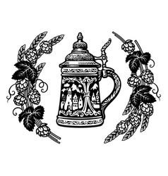 german stein beer mug in frame hop branches vector image