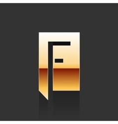 Gold Letter F Shape Logo Element vector image