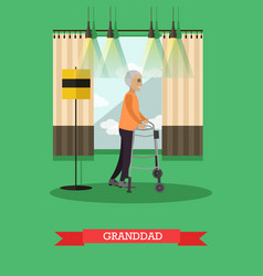 granddad using walkers in flat vector image