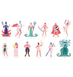 greek gods and goddess olympic cartoon gods vector image