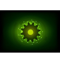 Green lighting cogwheel on the black vector