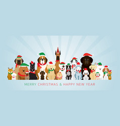 group of dogs wearing christmas costume vector image