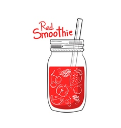 hand drawn red smoothie jar vector image