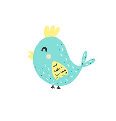 happy bird character in cartoon style isolated vector image