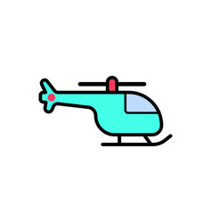 helicopter flat icon sign symbol vector image