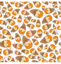 Ice cream seamless pattern vector
