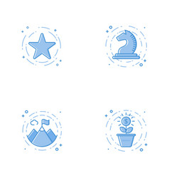 Icons with star chess horse mountains and plant vector