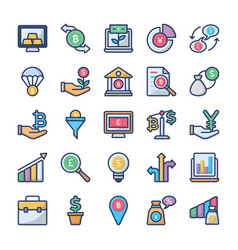 Investments and finance icons collection vector