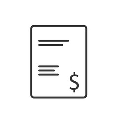 invoice line icon on a white background vector image