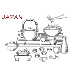 Japanese seafood with green tea vector image