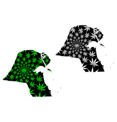 Kuwait - map is designed cannabis leaf vector
