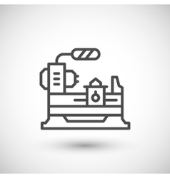 Lathe machine line icon vector image