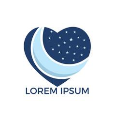 Love night logo design vector