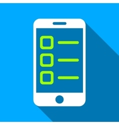 Mobile List Flat Long Shadow Square Icon vector image