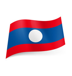 National flag of laos wide central blue stripe vector