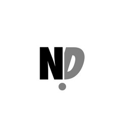 nd n d black white grey alphabet letter logo icon vector image