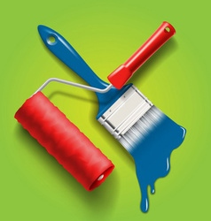 Paint brush and roller vector