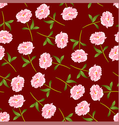 pink peony seamless on red background vector image