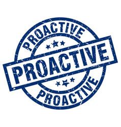 proactive blue round grunge stamp vector image