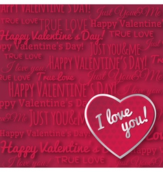 red background with red valentine heart vector image
