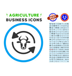 Refresh cow rounded icon with set vector