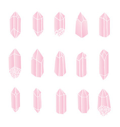 Rose quartz crystals set isolated gems vector