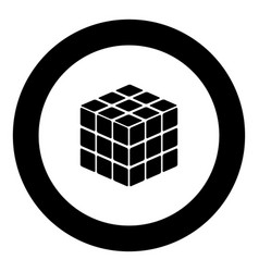 Rubics cube game shape black icon in circle vector