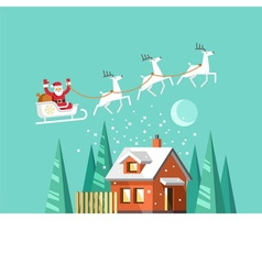 Santa claus on sleigh winter house vector