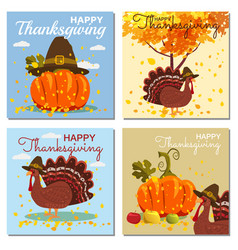 set card happy thanksgiving celebration with vector image