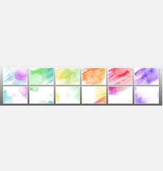 Set colorful watercolor background vector