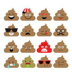 Set cute poop emoji vector
