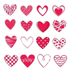 set of 16 different hearts isolated on white vector image