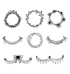 Set of black hand-drawn floral design elements vector