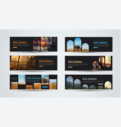 Set of black horizontal web banners of standard vector