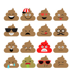 Set of cute poop emoji vector