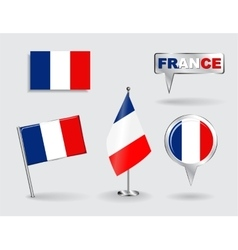 Set of French pin icon and map pointer flags vector