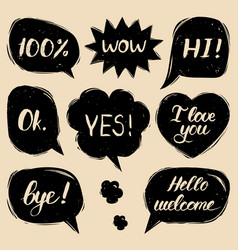 Set of hand drawn colorful comic speech vector