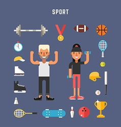 Set of Icons and in Flat Design Style Sport vector image