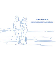 Sketch couple embracing on sea beach man and woman vector