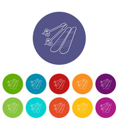 skiing icons set color vector image