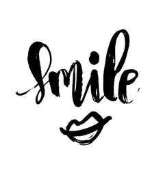 Smile handwritten brush lettering text modern vector