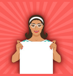 smiling retro woman with blank poster vector image