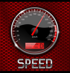 speedometer on red perforated background vector image