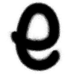 Sprayed E font graffiti in black over white vector