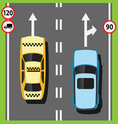 Street with cars on the road vector