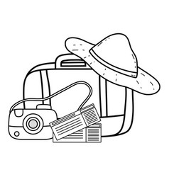 suitcase travel with hat and camera vector image