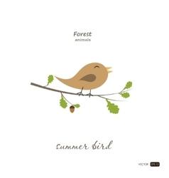 Summer bird in cartoon style on white background vector image